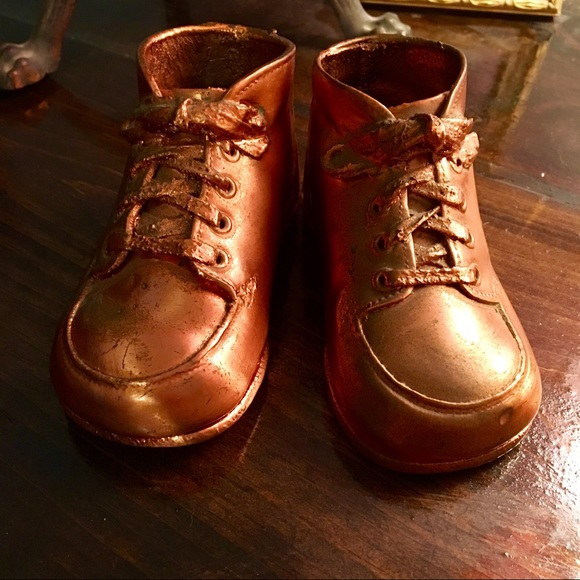 Vintage Authentic Bronzed Baby Shoes